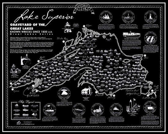 Lake Superior Ship Wreck Map